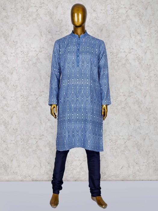 Blue Color Cotton Silk Fabric Stand Collar Kurta Suit