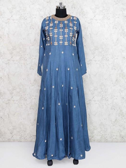 Blue Color Festive Cotton Silk Floor Length Anarkali Salwar Suit