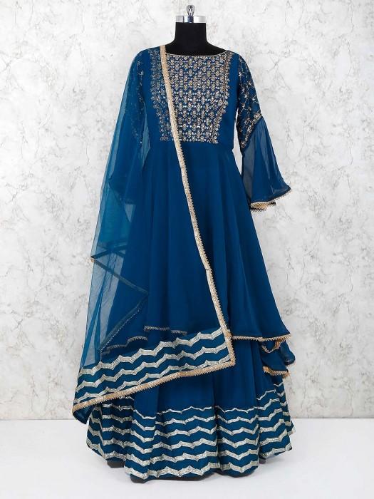 Blue Color Georgette Lehenga Cum Suit