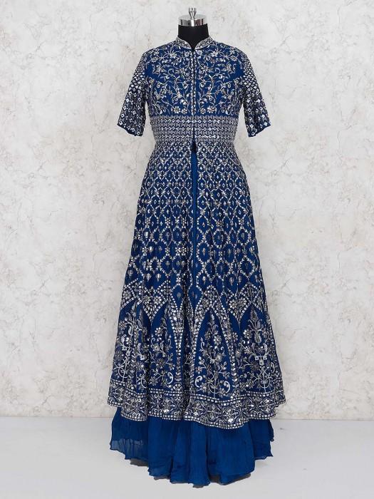 Blue Color Georgette Lehenga Cum Suit For Wedding