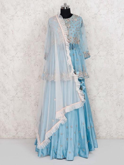 Blue Color Peplum Style Cotton Silk Lehenga Cum Suit