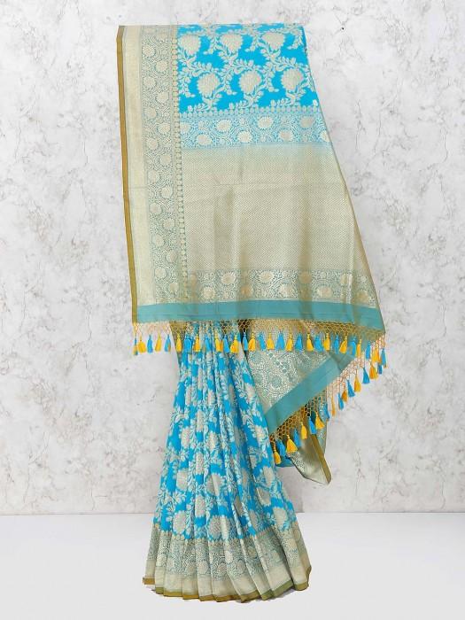 Blue Color Pretty Banarasi Semi Silk Saree