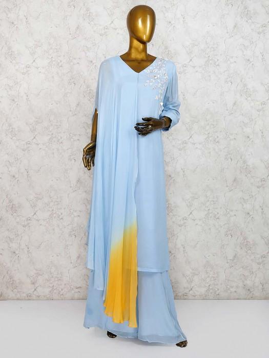 Blue Color Punjabi Palazzo Suit In Cotton Silk Fabric