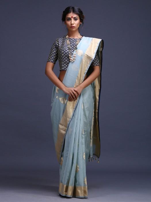Blue Color Pure Silk Amazing Saree