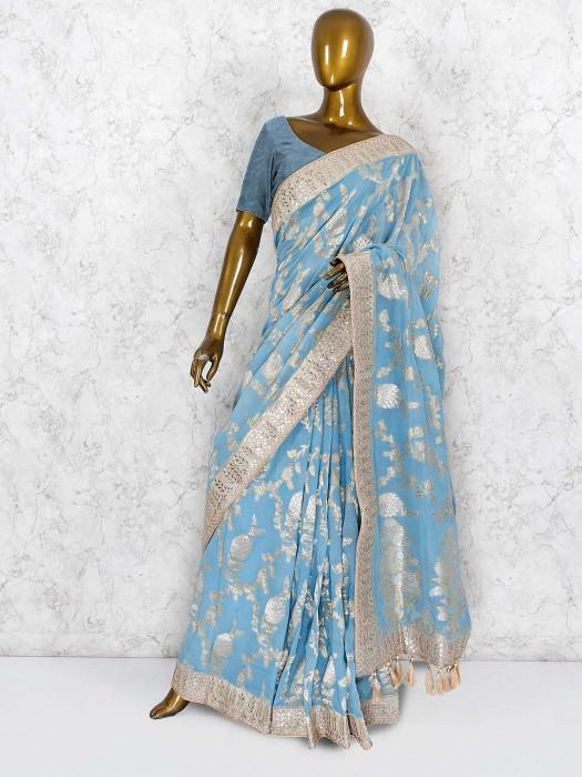 Blue Color Pure Silk Wedding Wear Saree