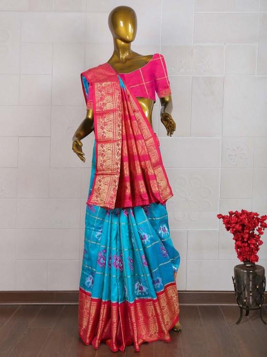 Blue Color Wedding Wear Saree In Patola