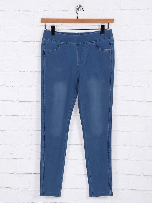 Blue Colored Hue Cotton Jeggings