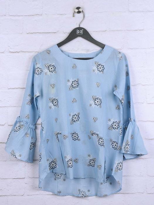 Blue Colored Hue Cotton Top