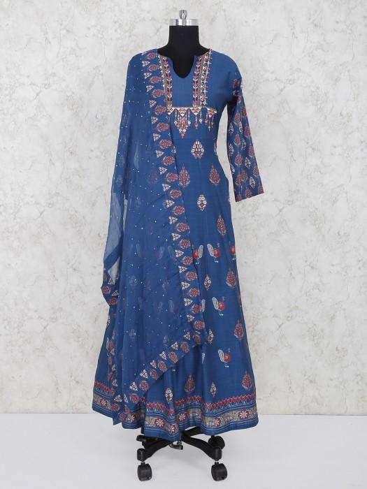 Blue Cotton Fabric Salwar Suit For Festive Wear