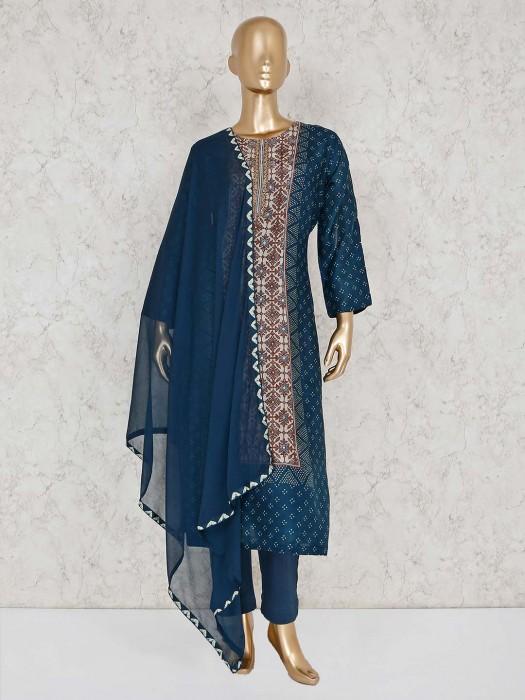 Blue Cotton Festive Round Neck Palazzo Suit
