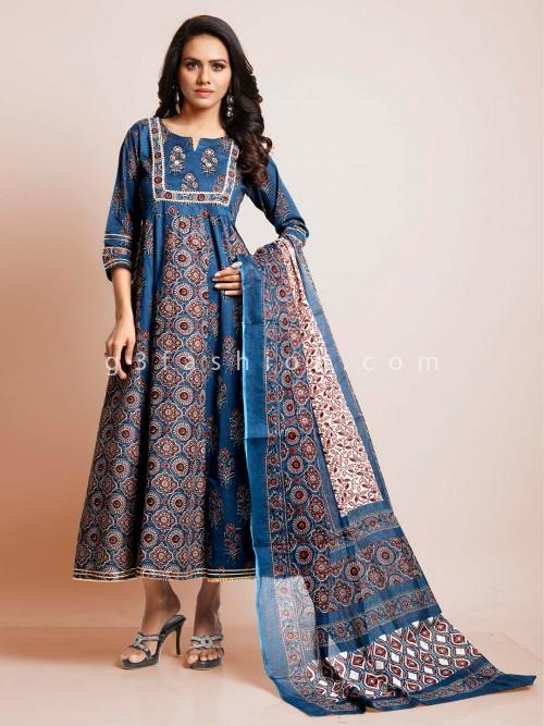 Blue Cotton Festive Wear Cotton Suit