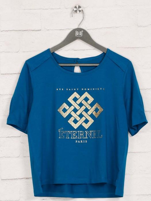 Blue Cotton Foil Printed Top