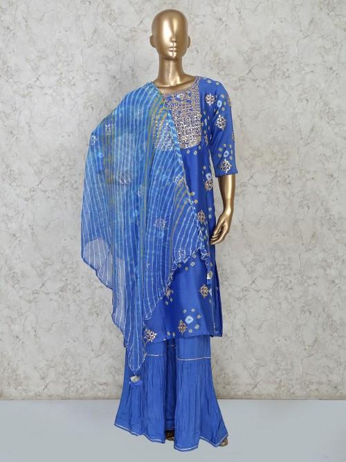 Blue Cotton Party Attire Cotton Punjabi Sharara Suit