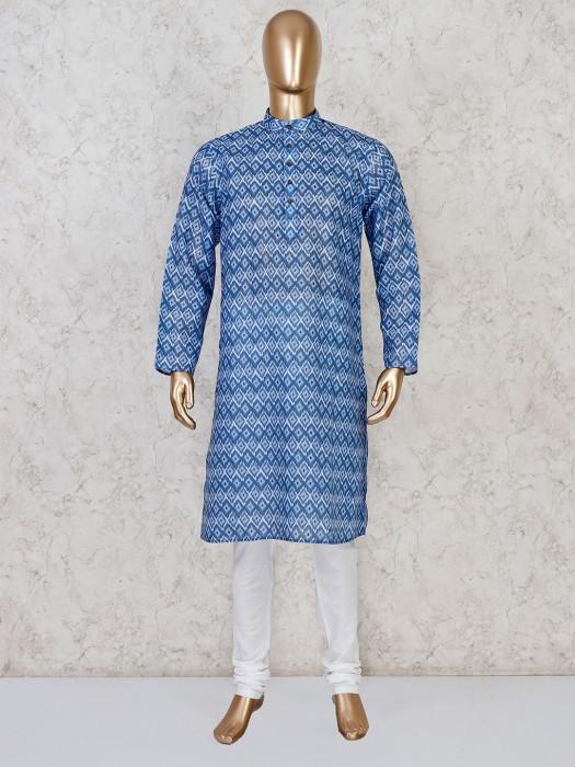Blue Cotton Printed Kurta Suit