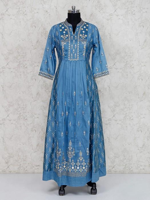 Blue Cotton Silk Long Salwar Suit
