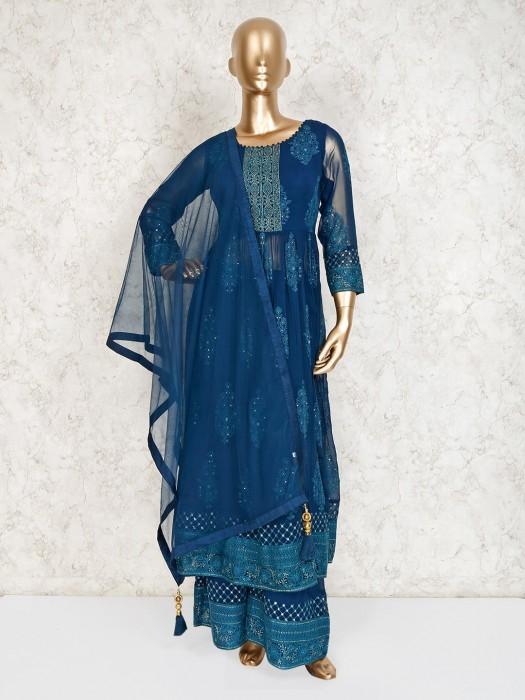 Blue Georgette Party Palazzo Suit