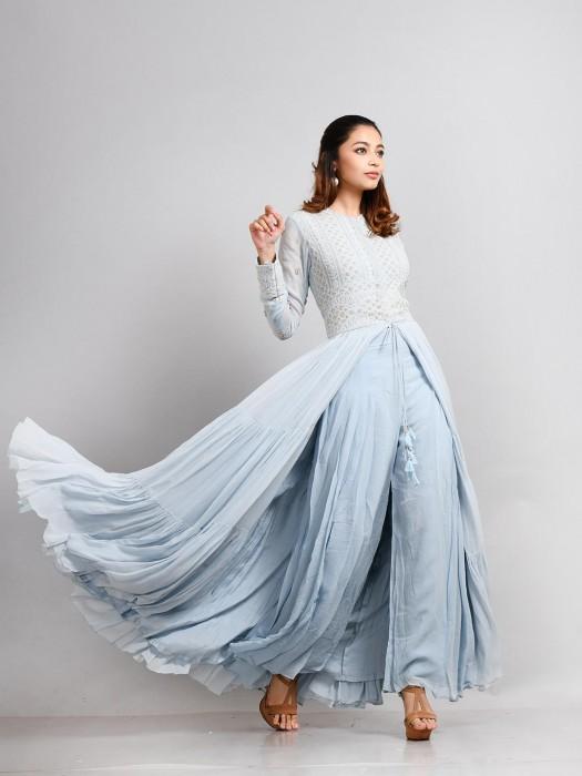 Blue Hue Georgette Festive Anarkali Suit