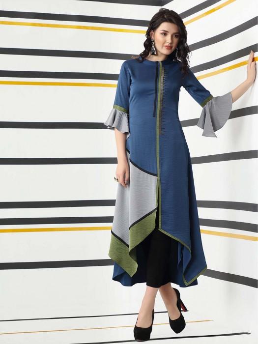 Blue Hue Round Neck Cotton Silk Asymmetric Kurti