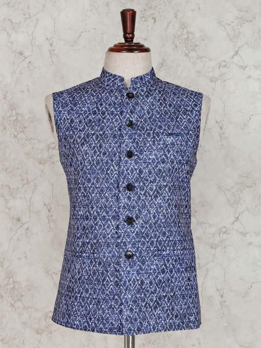 Blue Printed Cotton Silk Waistcoat