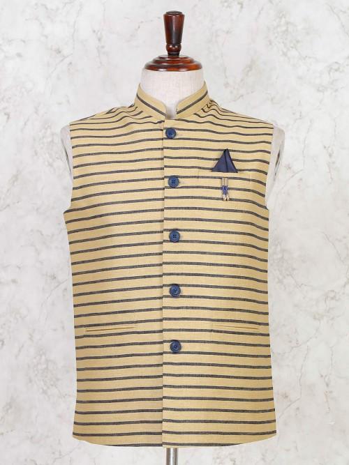 Blue Solid Party Wear Cotton Silk Mens Waistcoat