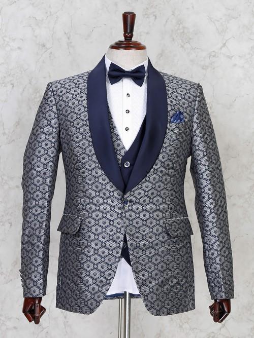 Blue Terry Rayon Mens Tuxedo Coat Suit