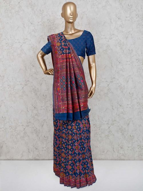 Blue Wedding Function Saree In Patola Silk