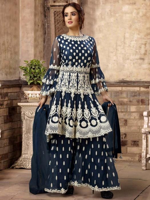 Blue Wedding Net Gharara Suit
