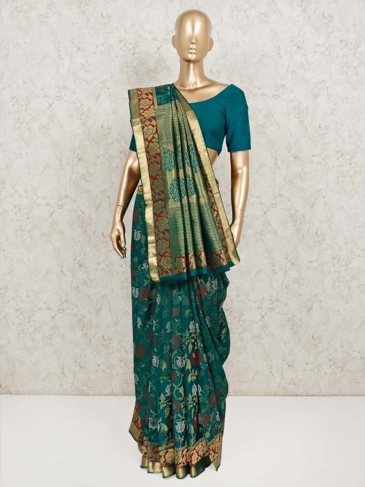 Bottle Green Banarasi Pure Silk Saree For Wedding