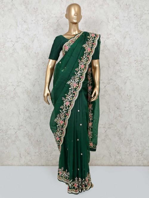 Bottle Green Embroidery Saree Design In Organza Tissue