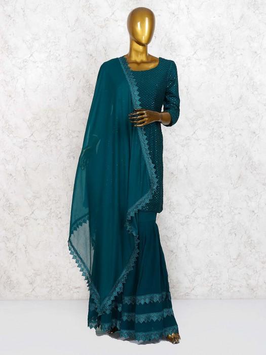 Bottle Green Georgette Fabric Punjabi Sharara Suit