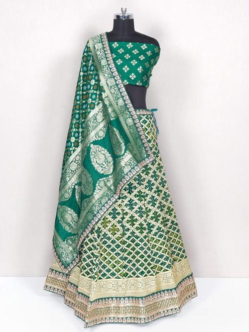 Bottle Green Reception Wear Lehenga In Bandhej