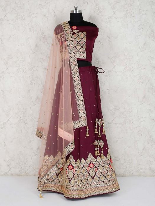 Bridal Wear Wine Maroon Semi Stitched Lehenga Choli