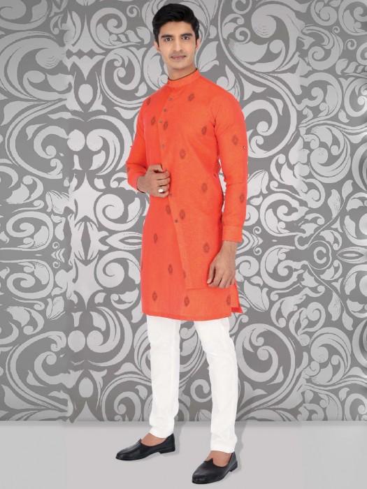 Bright Orange Cotton Fabric Festive Kurta Suit