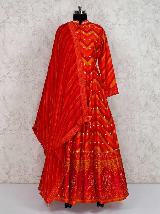 Bright Orange Cotton Silk Floor Length Anarkali Suit