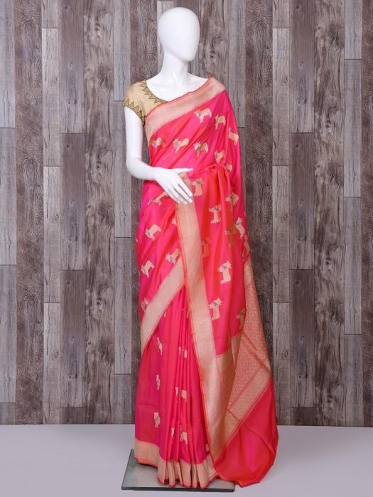 Bright Pink Pure Banarasi Silk Designer Saree