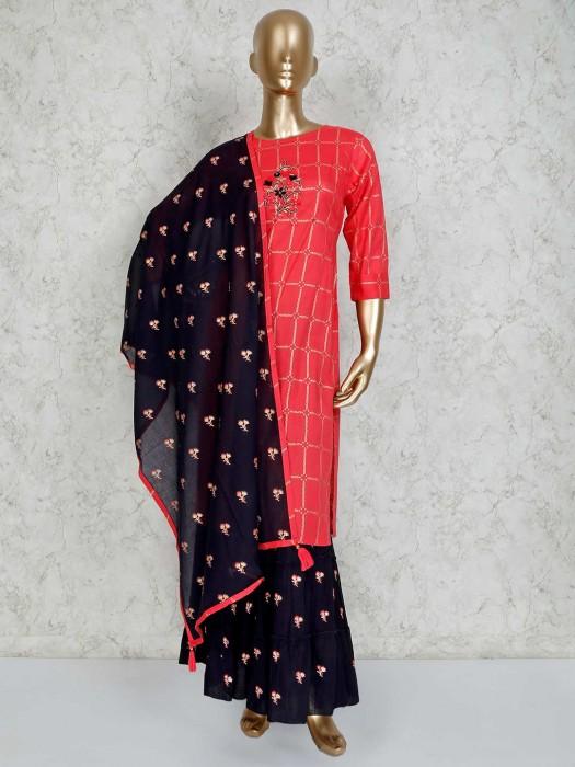 Bright Pink Cotton Round Neck Sharara Suit