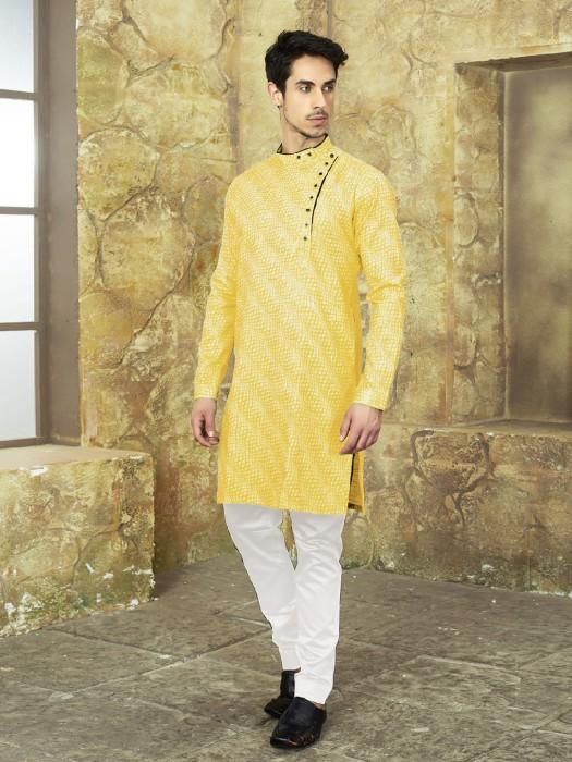 Bright Yellow Cotton Printed Kurta Suit