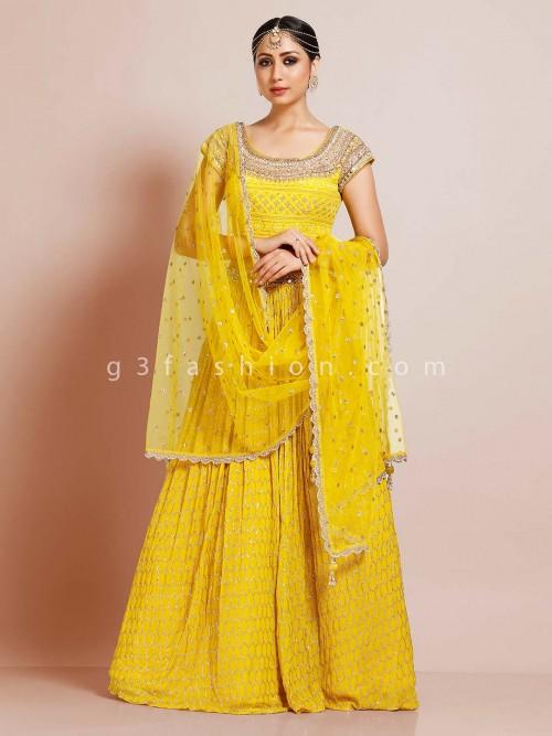 Bright Yellow Georgette Pretty Lehenga Choli For Wedding