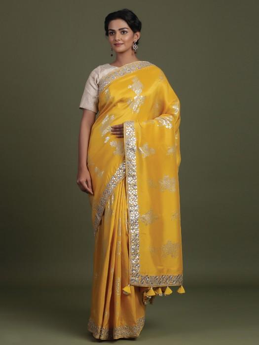 Bright Yellow Wedding Saree In Silk