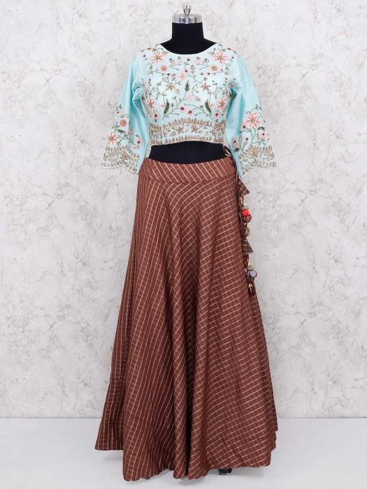 Brown And Aqua Lehenga Choli In Cotton Silk