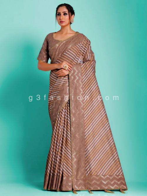 Brown Banarasi Tussar Leheriya Woven Saree With Readymade Blouse