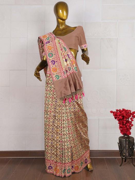 Brown Color Exclusive Pure Banarasi Saree