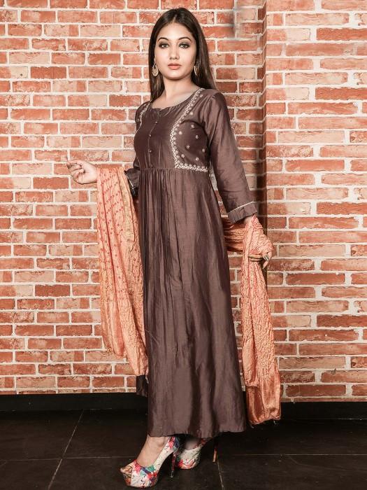 Brown Color Long Kurti In Cotton Silk