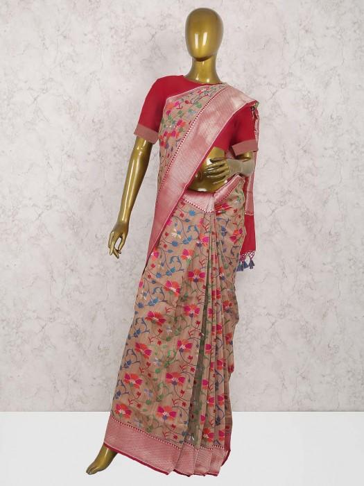 Brown Color Pure Banarasi Saree