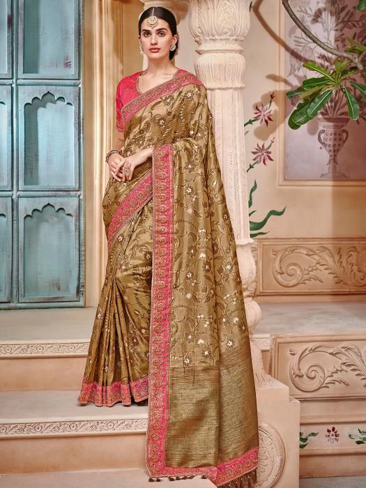 Brown Color Semi Silk Festive Saree