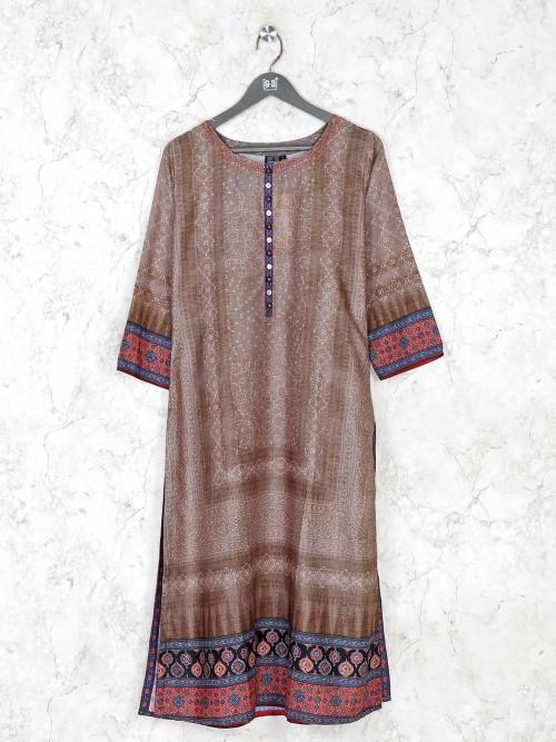 Brown Cotton Silk Casual Kurti