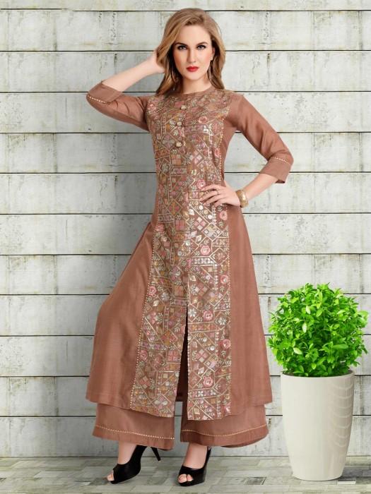 Brown Cotton Silk Festive Wear Palazzo Suit