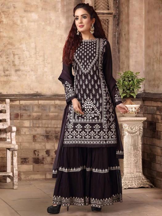 Brown Cotton Silk Gharara Suit
