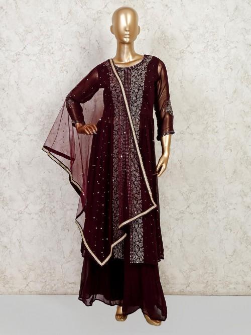 Brown Georgette Wedding Wear Sharara Suit