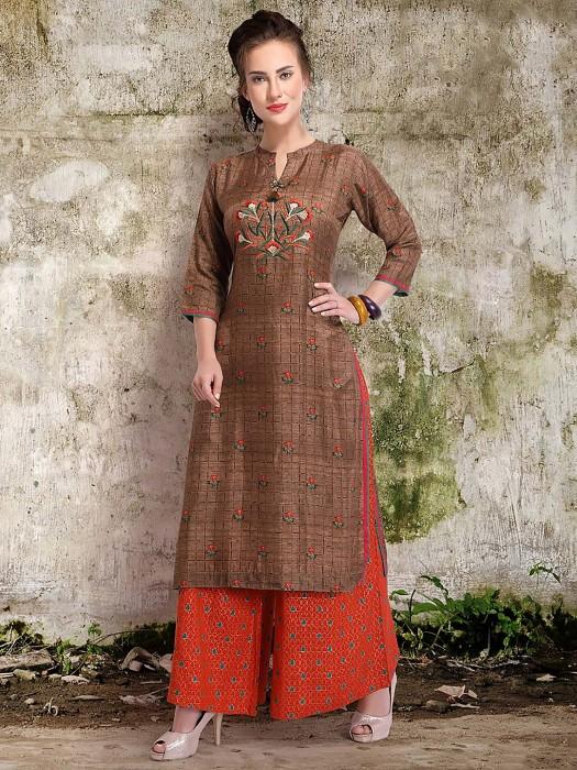 Brown Hue Punjabi Palazzo Suit In Cotton Silk Fabric